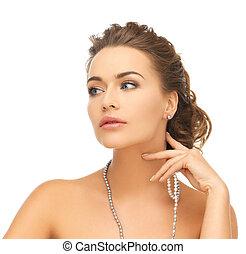 mulher, pérola, brincos, colar