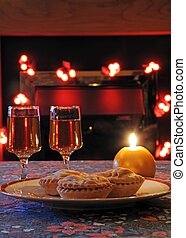 Sherry and mince pies - Mince pies and sherry with a candle...