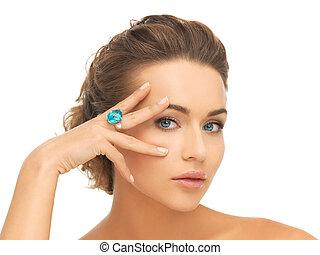 blu, anello, donna,  cocktail