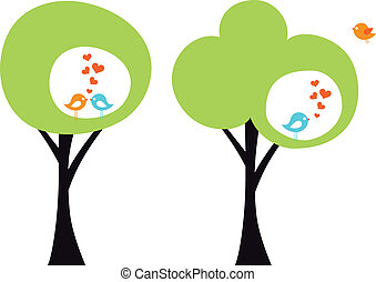 tree with love birds, vector - green tree with cute love...