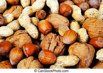 Mixed nuts in shells. - Mixed nuts in their shells (Monkey...