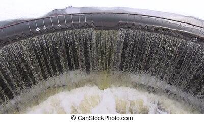 water splash in spring river dam