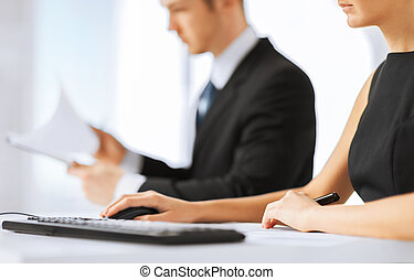 business team on meeting using computer - office, law and...