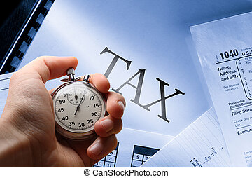 Operating budget, calendar, tax and stopwatch in hand