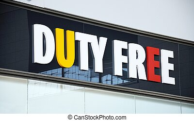 Duty free shop sign in airport. - Duty Free shop sign inside...