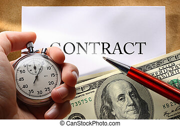 Contract with money and pen - Contract conception with...