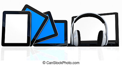headphones on the laptop and tablet pc on a white background...