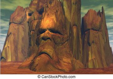 Troll Mountains - Fantasy landscape featuring troll-like...