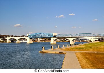 Chattanooga Riverfront Bridge - Bridge view of Chattanooga...