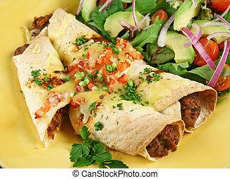 carne de vaca, y, frijol, Enchiladas, 3