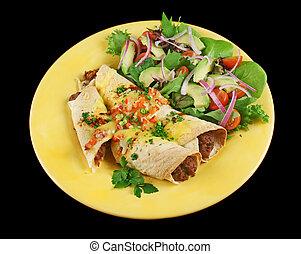 carne de vaca, y, frijol, Enchiladas