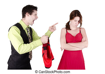 Adultery - Man holding boxers, isolated on white background.