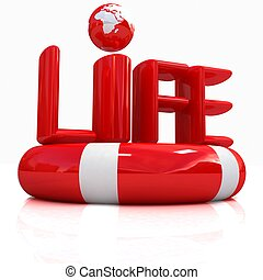 Concept of life-saving.3d illustration