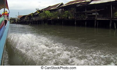Longtail boat pov in Bangkok Khlong - Point of view from a...
