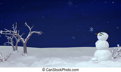 Christmas snowman at night