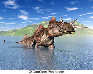 The Loch Ness Monster - Computer generated 3D illustration...