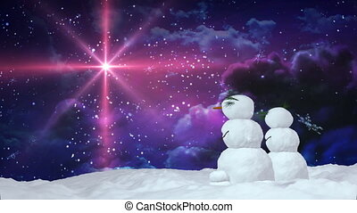 Christmas snowman red star