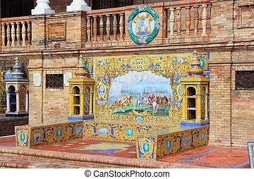 Albacete - Seville, Spain - famous Plaza de Espana Ceramic...