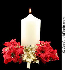 Christmas Candle Red Flowers - Christmas church candle with...