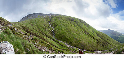 Ben Nevis at Glen Nevis with the Steall Waterfall -...