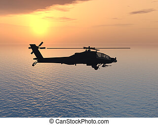 Apache Helicopter - Computer generated 3D illustration with...