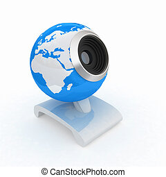 Web-cam for earth. Global on line concept on a white...