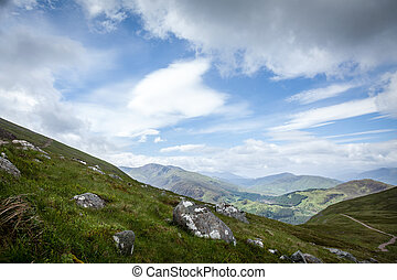 View of the Glen Nevis at Ben Nevis in Scotland,...