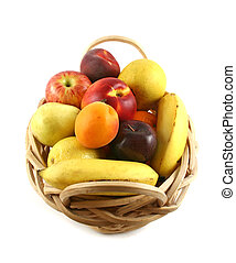Fruit Basket 1 - Cane basket filled with freshly picked...