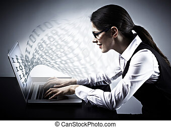 Woman working with laptop Technology background
