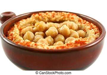 Hummus And Chickpeas - Earthenware bowl with delicious...