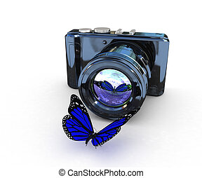 3d illustration of photographic camera and butterfly on...