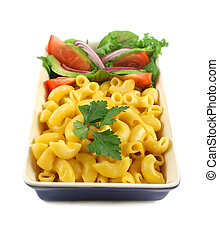 Macaroni Cheese And Salad - Macaroni cheese and a fresh red...