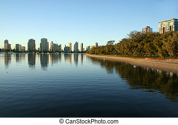 Main Beach Gold Coast Australia seen from Southport across...