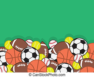 Sports Balls Pile - Sports balls in a large pile with green...
