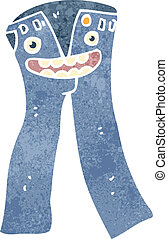 retro cartoon blue jeans - Retro cartoon illustration. On...