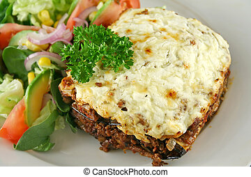 Moussaka 8 - Lamb moussaka with egg plant cheese and salad.