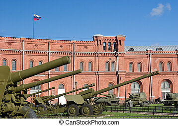 old rustic canons - old canons at the russian militaru...