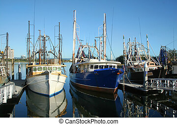 Fishing Boats At Dock - Prawn trawlers and fishing boats at...