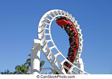 Roller Coaster 1 - The thrills of a 360 degree turn on a...