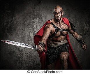 Ferido, gladiador, atacar, espada, coberto, sangue