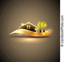 casa, símbolo, jardín