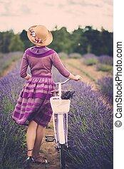 femme, pourpre, robe, chapeau, retro, Vélo, lavande,...