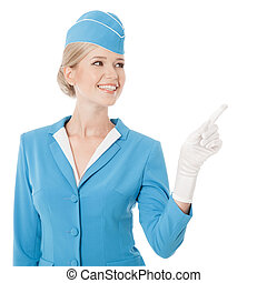 Charming Stewardess Dressed In Blue Uniform Pointing The...