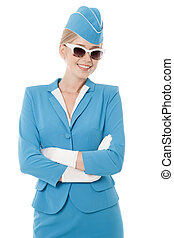 Charming Stewardess Dressed In Blue Uniform And Vintage...