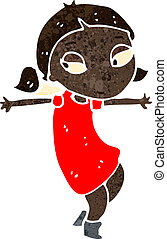 retro cartoon dancing girl - Retro cartoon illustration. On...