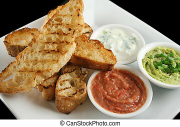 Turkish Bread And Dips 5 - Delicious and colorful trio of...