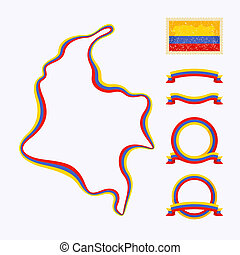 Colors of Colombia - Outline map of Colombia. Border is...