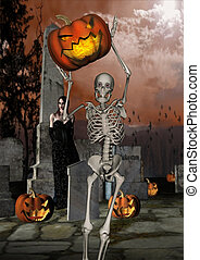 Halloween Night - Halloween night scene in a cemetery with...