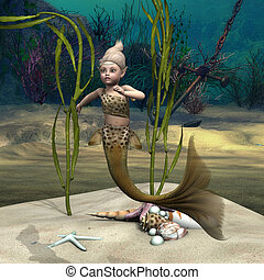 Little Mermaid - 3D digital render of a little cute baby...