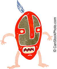 retro cartoon man in tribal mask - Retro cartoon...